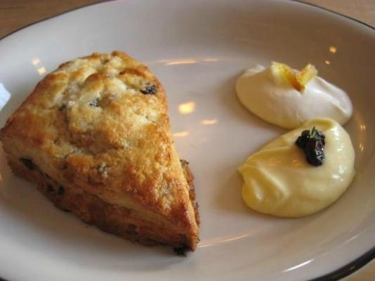 Fresh baked to order scone with side of creme fraiche